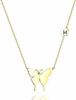 Dainty Butterfly Initial Necklace 18K Gold Plated Pendant Name Everyday Necklaces for Women Teen Girls Kids Minimalist Per...