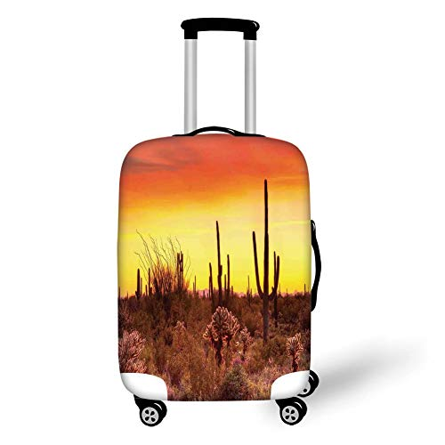 Travel Luggage Cover Suitcase Protector,Saguaro Cactus Decor,Eve Sky in Barren Land with Cactus and ODD Weeds All Around The Dry Earth Photo,Red Yellow,for Travel M