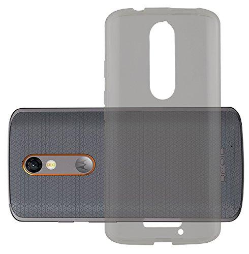 Cadorabo Hülle für Motorola Moto X Force - Hülle in TRANSPARENT SCHWARZ – Handyhülle aus TPU Silikon im Ultra Slim 'AIR' Design - Silikonhülle Schutzhülle Soft Back Cover Case Bumper