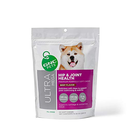 GNC Pets Ultra Mega Hip & Joint Health Soft Chews Supplement for Dogs, 60 Count - Beef Flavor | Supports Cartilage & Connective Tissue | Healthy and Natural Pet Supplements
