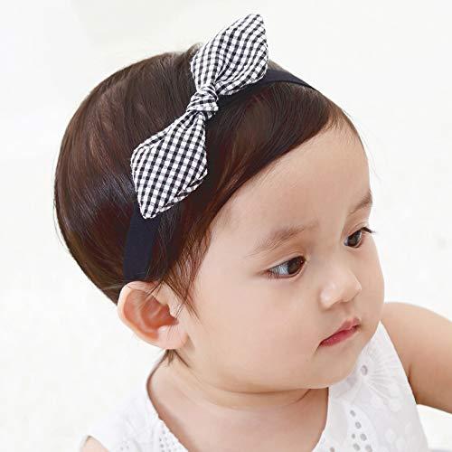 Kercisbeauty Baby Girls Plaide Bows Headband Lace Headwear for Toddler Babies Elastic Adjustable Head piece Wreath Halloween Holiday Sunday Headband (Dark Red)