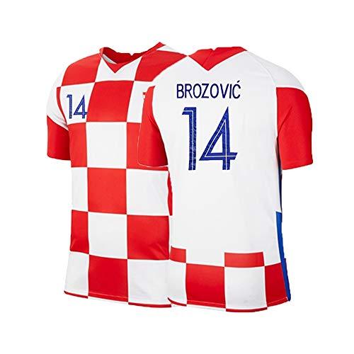 XH Herren Trikot Marcelo Brozović # 14 Fußball-T-Shirt Trainingskleidung Erwachsenengröße, S-XXL (Color : Red+White, Size : Adult-Small)