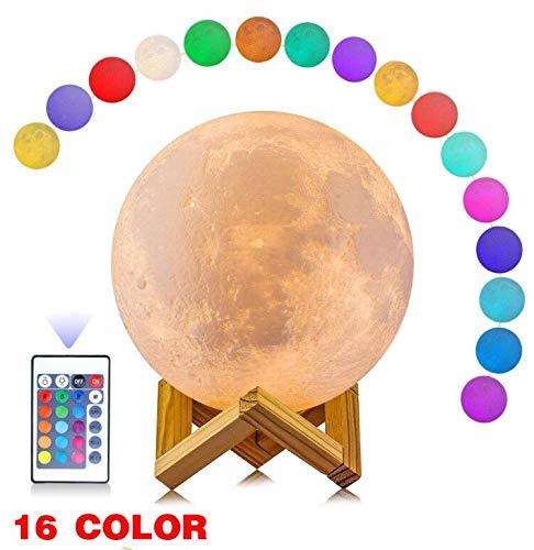 anaoo Lámpara de Luna LED Luz de ambiente Grande(16cm) en 16 Colores, Lámpara de Mesa de Luces con Sensor, 3D Lámpara de Noche Luna, Lámpara de decoración Regulable, [Clase de eficiencia energética A]