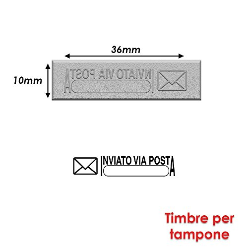 Briefmarke Gummi für Stempel Stempelkissen 40x 10mm Text Italienisch–inviato Via Posta 2
