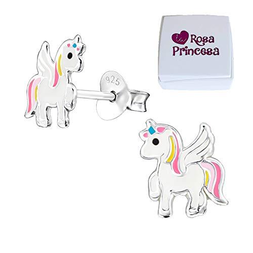 Magical Niños Pendientes Unicornio Plata de ley 925