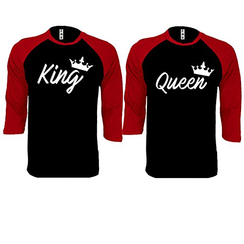 King and Queen HANDWRITE Baseball Shirts Couple Matching Raglan 3/4 Sleeve T-Shirts-Black/Red-Large-(King ONLY)