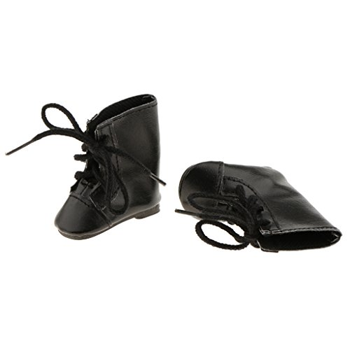 Sharplace 2xFashion Shoes Botas con Cordones para Muñeca Wellie Wisher de 14 Pulgadas, Color Negro