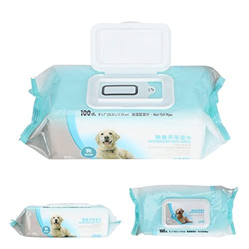 Toallitas desodorizantes para perros, toallitas, suministros para mascotas, portátil suave para mascotas(Dog bath towel 100 pumps)