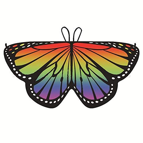 Disfraz de chal de hadas con alas de mariposa para niños para niñas, disfraz de arcoíris de...