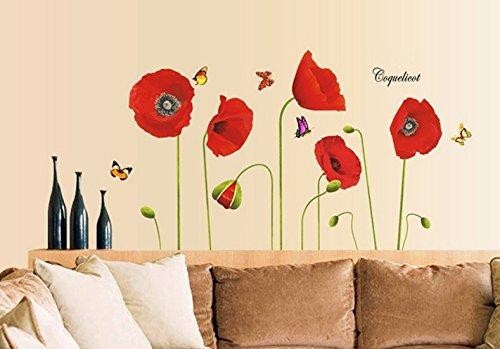Fleurs de coquelicots Papillons Fleurs rouges Sticker mural Autocollants Cuisine Décoration Des gamins Garderie Decal Décalcomanies Décoration de maison Fleurs modernes élégantes
