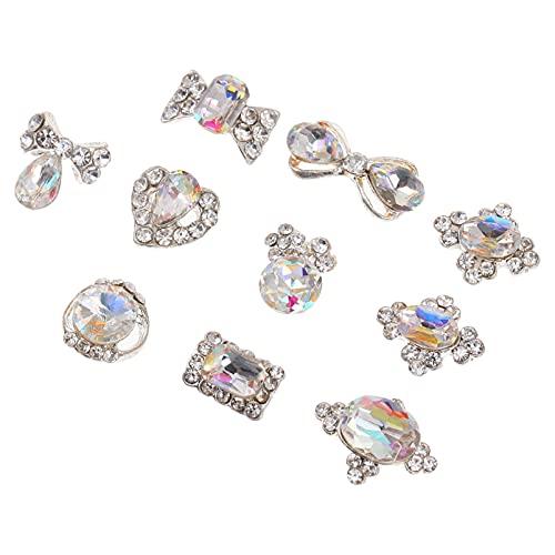 FOMIYES 10Pcs 3D Arte de Uñas Encantos de Diamantes de Imitación de Corazón de Diamantes de Cristal Calcomanías Manicura Pendientes DIY Decoración para Mujeres Niñas Uñas Joyería