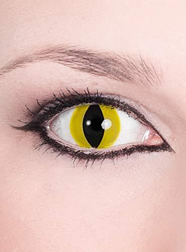 Raubtier - gelbe Kontaktlinsen / Monatslinsen - Motivlinsen ohne Sehstärke - Unisex - Erwachsene - ideal für Halloween, Karneval, Motto- und Horror-Party