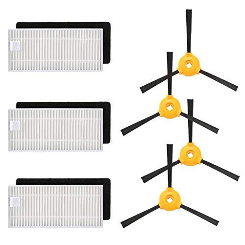 HSKB reserveonderdelen kit, onderdelen accessoires voor Ecovacs Robotics Deebot N79S N79 stofzuiger, veegmachine, wisfunctie, 2 set zijborstels 3 filters