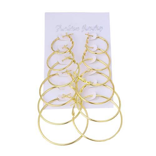 Joocyee 6 par/Set Anillo Colgante Vintage Pendientes de aro de círculo Grande Clip de Oreja Steampunk para Mujer, Juego de Pendientes de círculo Dorado, Oro