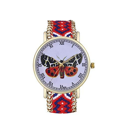Tyoby Damen Uhren Mode Großes Scheibenrad Quarzuhr Frau Raffinesse Präzision Uhr Wollgürtel Dekoration(D2)