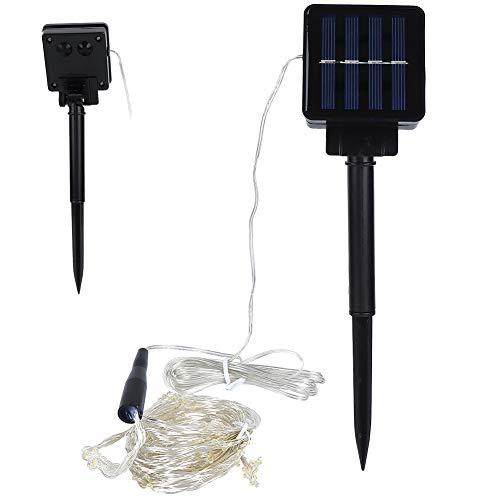 Haowecib Luces de Cadena solares LED, Blanco cálido Chips de 200LED Luces de Cadena solares al Aire Libre IP65 Luz de Cadena con energía Solar Impermeable para la Fiesta de Navidad