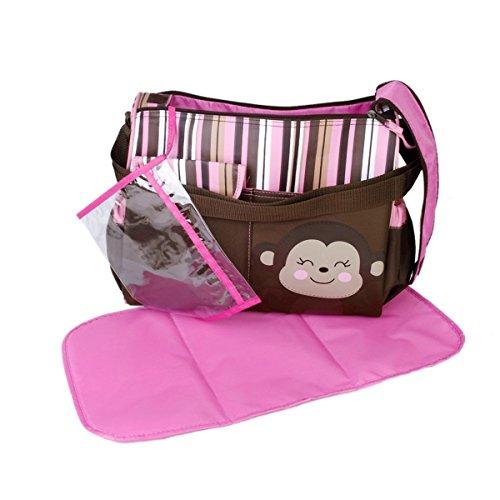 Pixnor Sac à Couches de Voyage Multifonctionnel avec bandoulière et Grande capacité pour bébé Rose