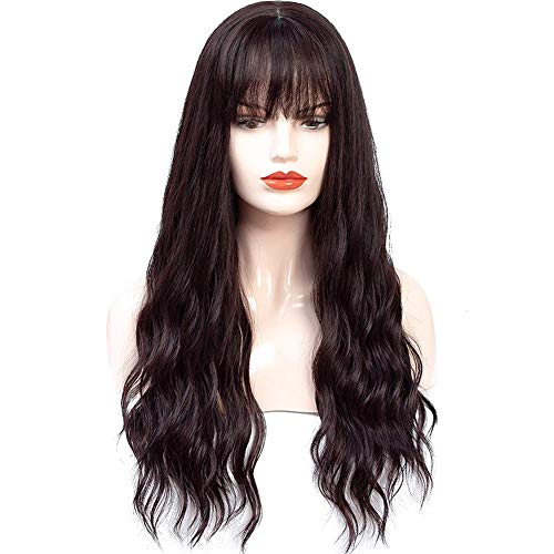 HUA MIAN LI Long Wavy Wig With Air Bangs Heat Resistant Synthetic Wig for Women - Natural Looking Machine Made 26 inch Hair Replacement Wig for Party Cosplay Body Wavy (Red Brown)…