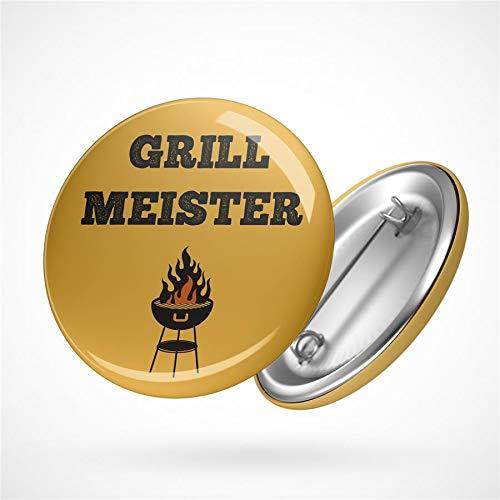 Hellweg Druckerei Button Anstecker Grill Meister Barbecue BBQ Grillen Feuer Badge Abzeichen Pin