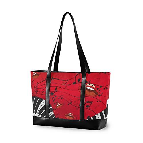 LZXO Laptop-Tasche, (15,6 Zoll) Klaviertasten, Musiknote, Mund, Damen, große Schultertasche, Reißverschluss, leicht,Handtaschen