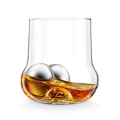Final Touch, Vaso de Whiskey RockRoller, Bolas de Acero Inoxidable para Enfriamiento del Hielo y Pinza de Hielo; para Regalo.
