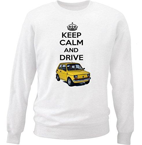 TEESANDENGINES MALUCH Polish Fiat 126 P Keep Calm Felpa di Cotone Bianca Size Large