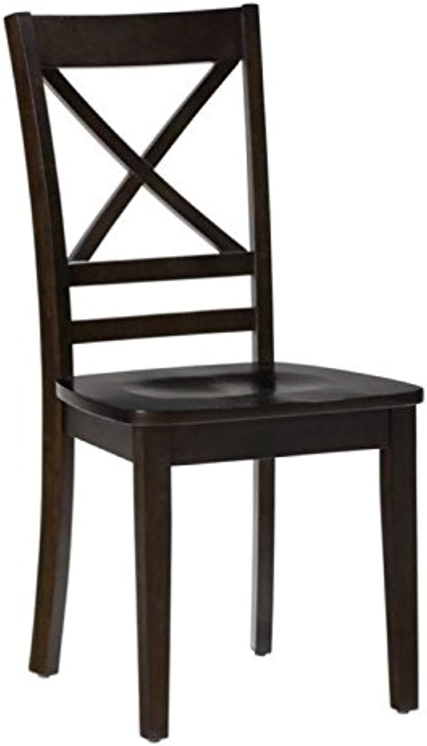 Bowery Hill Wood X Back Dining Chair in Espresso (Set of 2)