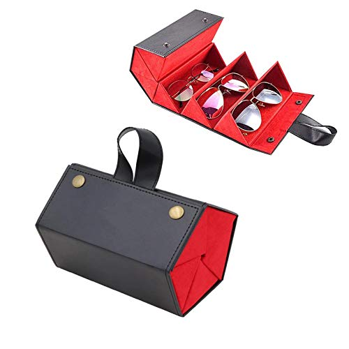5 Slots Foldable Leather Multiple Sunglasses Eyeglasses Organizer Case for Travel Sunglasses Organizer Gifts