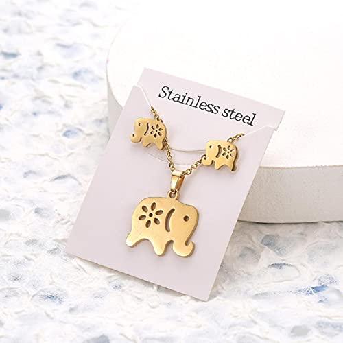 CXWK Animal Flor Mariposa Colgante de Acero Inoxidable Conjuntos de Collar para Mujeres Cadena de Color Dorado Collar Pendientes joyería Regalos