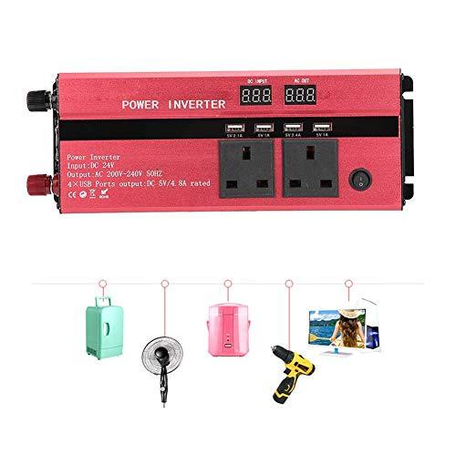 WYZXR Onduleur d'alimentation de Voiture, 12V / 24V à 220V Onduleur de Tension Solaire de Voiture Haute Puissance 3000W / 4000W / 5000W Type UK Rouge (24V-220V-4000W)