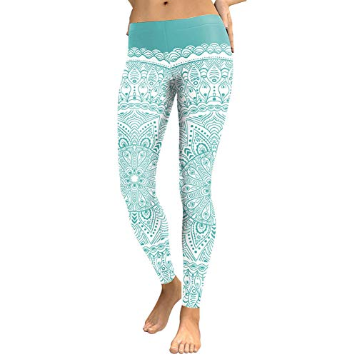 Ayujia Runde Ombre Flower Digital Print Fitness Leggins Grün Plus Size Trainingshose