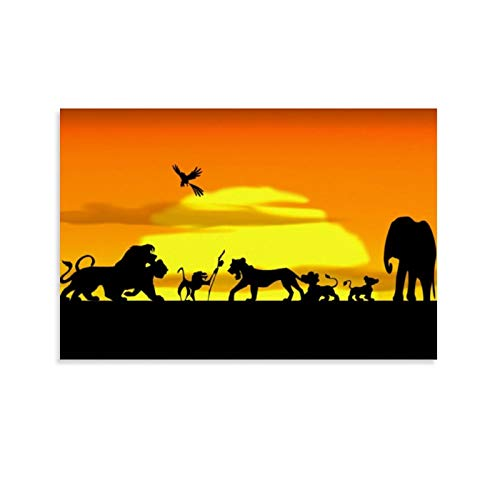 DRAGON VINES El rey de la pradera, el rey león Simba Mufasa lienzo impreso Ar twork decoración de oficina 50 x 75 cm