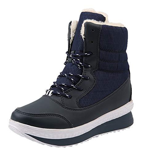 Honestyi Bottes de Neige Femme Chaussures de Outdoor Hiver Plus Velours Boots Bottes Montantes Bottes Martin Keep Warm Shoes Classiques Fond Epais Sneakers