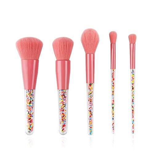 SIQDAK Juegos de brochas de maquillaje, brochas de maquillaje profesionales para polvo, rubor, base, resaltado, sombra de ojos (5 unidades)