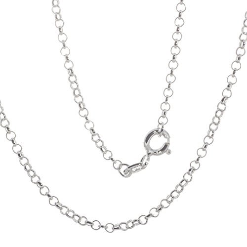 Bella Carina Damen Halskette Garibaldi Gliederkette Rolokette 1,9 mm 70 cm Länge, 925 Sterling Silber