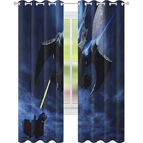 Cortinas opacas para dormitorio, nave espacial explosiva un rayo láser un acorazado enemigo Galaxy Wars patrón de espacio exterior, 63 pulgadas de largo bloqueando la luz para guardería, azul negro
