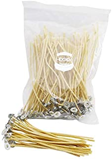DGQ 100% Organic Hemp Wick 6 Inch with Natural Beeswax Coating & Tabbed 100 Piece Candle Wicks in 3mm Diameter for Candle ...