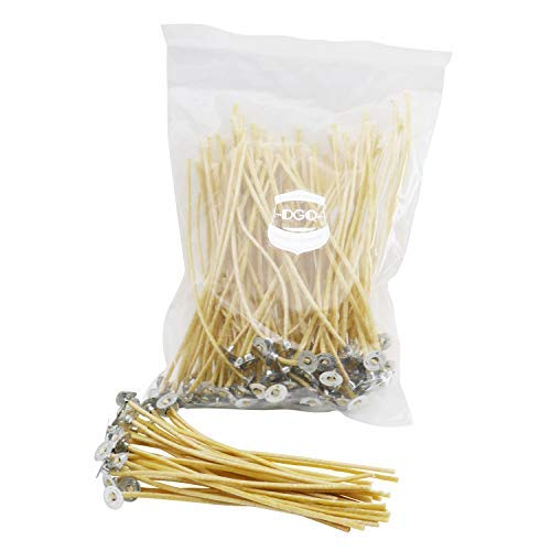DGQ 100% Organic Hemp Wick 6 Inch with Natural Beeswax Coating 100 Piece Candle Wicks in 3mm Diameter for Candle Making Supplies Candle DIY