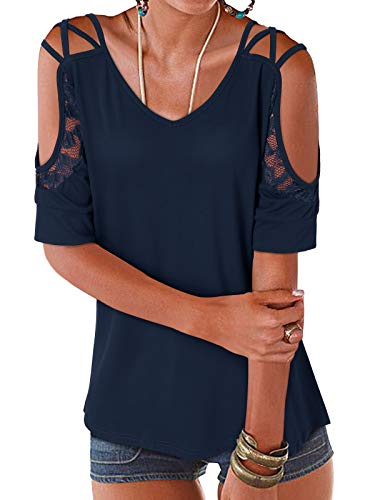 YOINS Femmes Tee-Shirt Sexy Chic Tops Été Dentelles Haut Shirt Épaules Dénudées Chemise Manches Courtes Bleu Foncé M