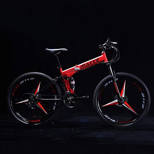 YJTGZ Bicicletta Pieghevole, 24 Pollici Bicicletta Bike, Bici Piega Ragazzi Ragazze, 21 velocità Bici Bicicletta Studenti Maschi E Femmine Adulti Telaio in Acciaio Ad Alto Tenore di Carbonio(Red B)
