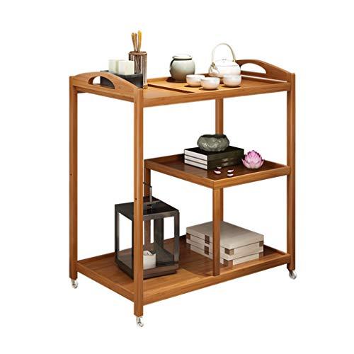 Tables basses Panier à thé Nan Chariot à thé en Bambou poulie Amovible Plateau de thé Simple Table à thé thé Table à thé (Color : Brown, Size : 70 * 42 * 73cm)