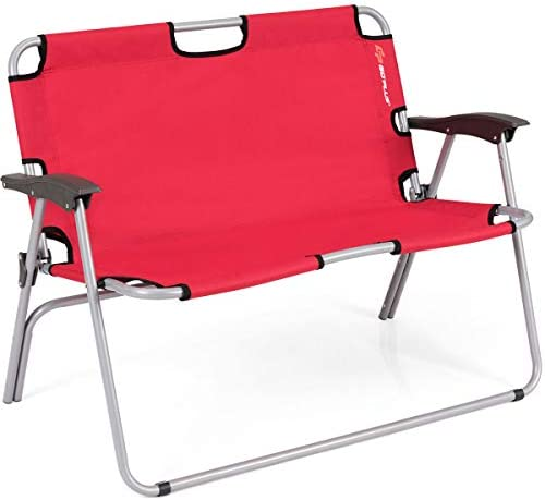 Goplus Folding Loveseat Camping Chair Outdoor 2 Person Beach Seat Steel Frame Portable Double product image