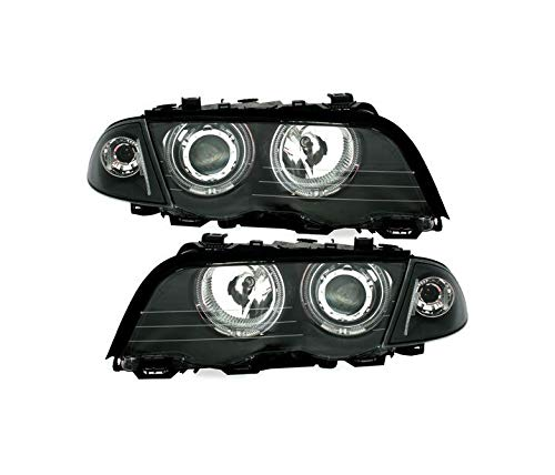 Juego de faros compatibles con BMW Serie 3 E46 Saloon Touring 1998 1999 2000 2001 316i 318i 320i 323i 328i 320d 330d 330xd VP507 faros delanteros montaje proyector Angel Eyes anillos negro LHD