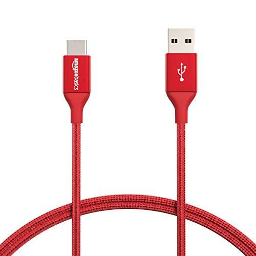 Amazon Basics - Cable macho de USB 2.0 C a USB 2.0 A, de nailon con trenzado doble | 0,9 m, Rojo