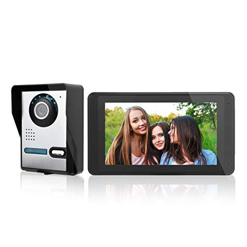 Timbre de Video, Pantalla Táctil de 7 Pulgadas con Cable Pantalla Táctil Video Portero Timbre de Puerta Teléfono 110-240v(EU)
