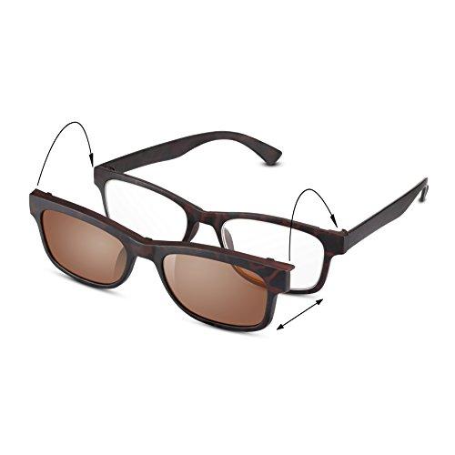 Read Optics 2-in-1 Sonnen-Lesebrille: Schildpatt Vintage Brille für Damen und Herren, in Stärke +2,5 Dioptrien. Mit getöntem Clip-On UV-400 Sonnen-Aufsatz. Leicht und unzerstörbar, ideale Reisebrille