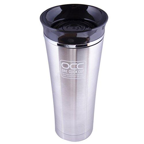 Tazza termiche a prova di perdite, 1 anno di garanzia - One Click, con una sola mano travel mug - Lavabile in lavastoviglie - Isolamento Sotto Vuoto, 4 colori, Acciaio INOX, 475 ml Black