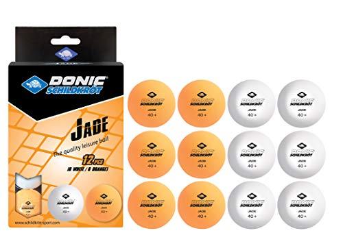 Donic-Schildkröt Unisex– Erwachsene Tischtennisball Jade, Poly 40+ Qualität, 12 Stk. im Polybag, 6 x weiß / 6x orange, M