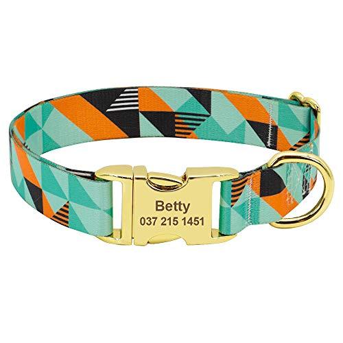 Gulunmun Personalisiertes Hundehalsband Individuell Bedruckte Hundehalsbänder Graviertes Typenschild ID-Tag-Halsband Einstellbar für kleine mittelgroße große Hunde-JH M.