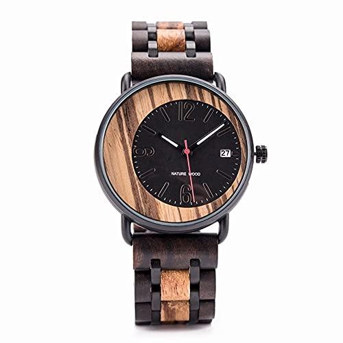 yuyan Reloj de hombre casual de negocios reloj de madera de cebra hecho a mano moda cuarzo reloj de los hombres excéntrico modelado creativo combinación de tecnología y naturaleza relojes de mujer